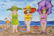 Beach Gals with Umbrella